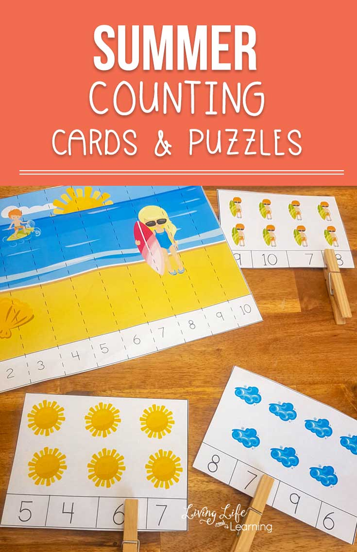 Have fun counting with these summer counting cards and puzzles