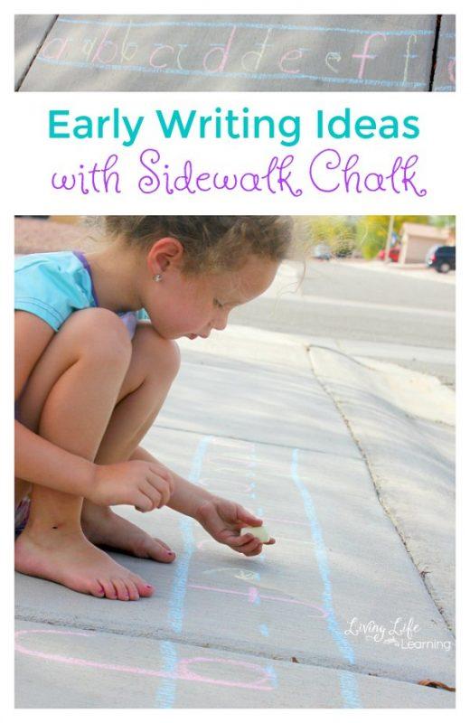 Early Writing Ideas with Sidewalk Chalk