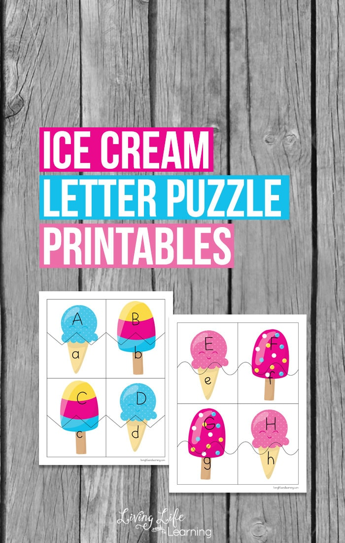 The alphabet has not been as exciting - grab the ice cream letter puzzle printables to make learning your letters fun for your kids. Match up upper and lowercase letters with these ice cream themed matching cards. #icecream #alphabet #abcs #learning #kids #homeschool #summer