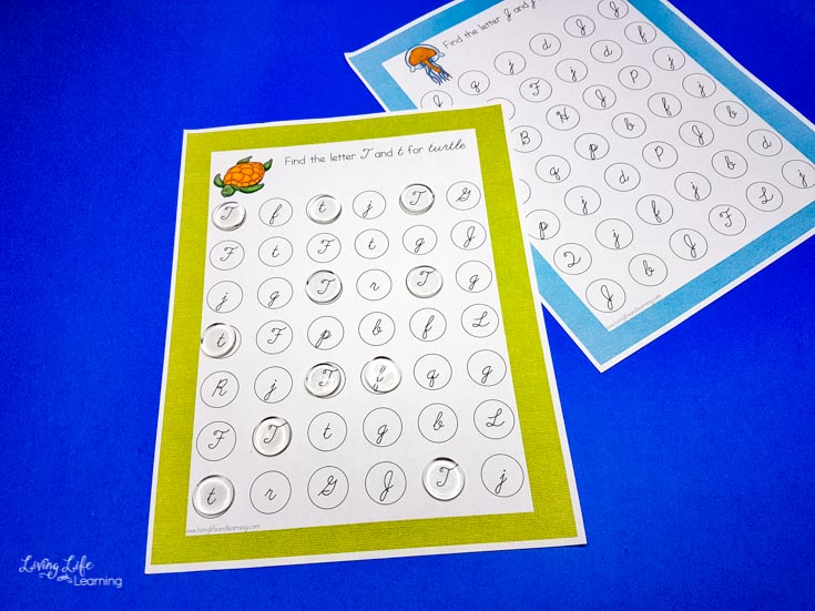 ocean cursive letter find worksheets