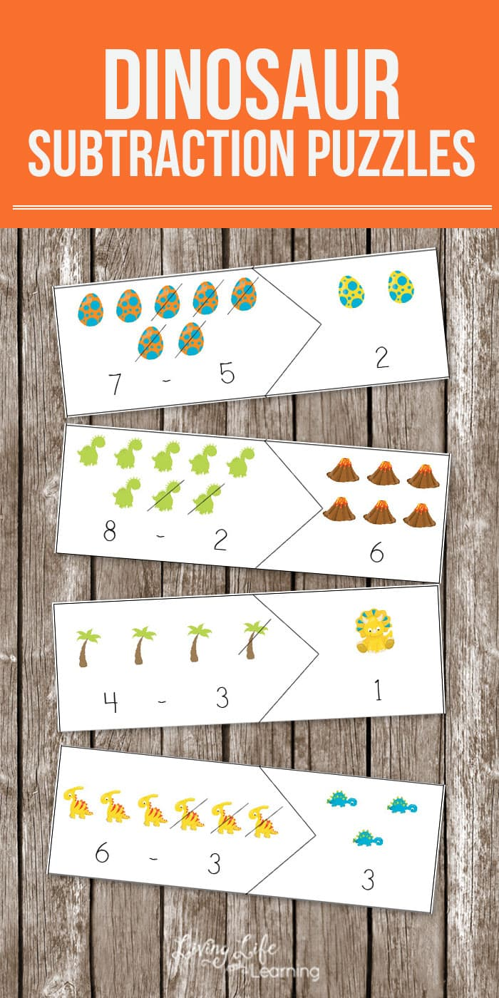 Dinosaur Subtraction Puzzles: Help Kids Learn Math While Having Fun!