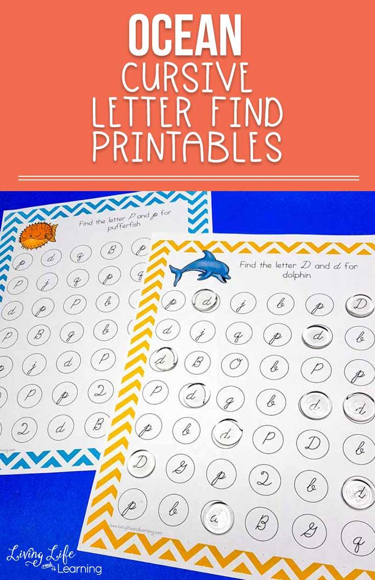 Ocean cursive letter find printables