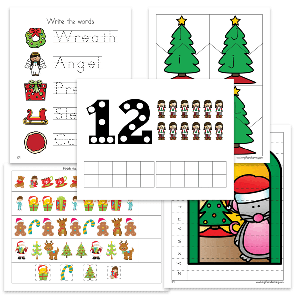 Make counting a joy when you count up to 5 and 10 - use this Christmas Counting Match Up to find the correct numbers, word and blocks as you count to 5 or 10. #Christmas #counting #preschool #homeschool #preschoolmath #LivingLifeandLearning