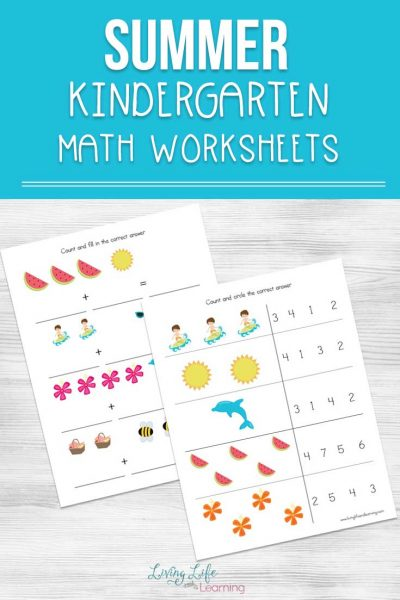 My daughter loves these colorful math worksheets. Have fun and keep up those math skills with these cute summer kindergarten math worksheets