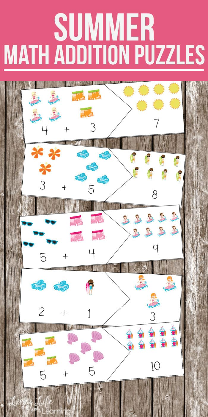 Fun Summer Math Puzzles – Addition Puzzle Worksheets
