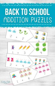 back to school addition puzzles