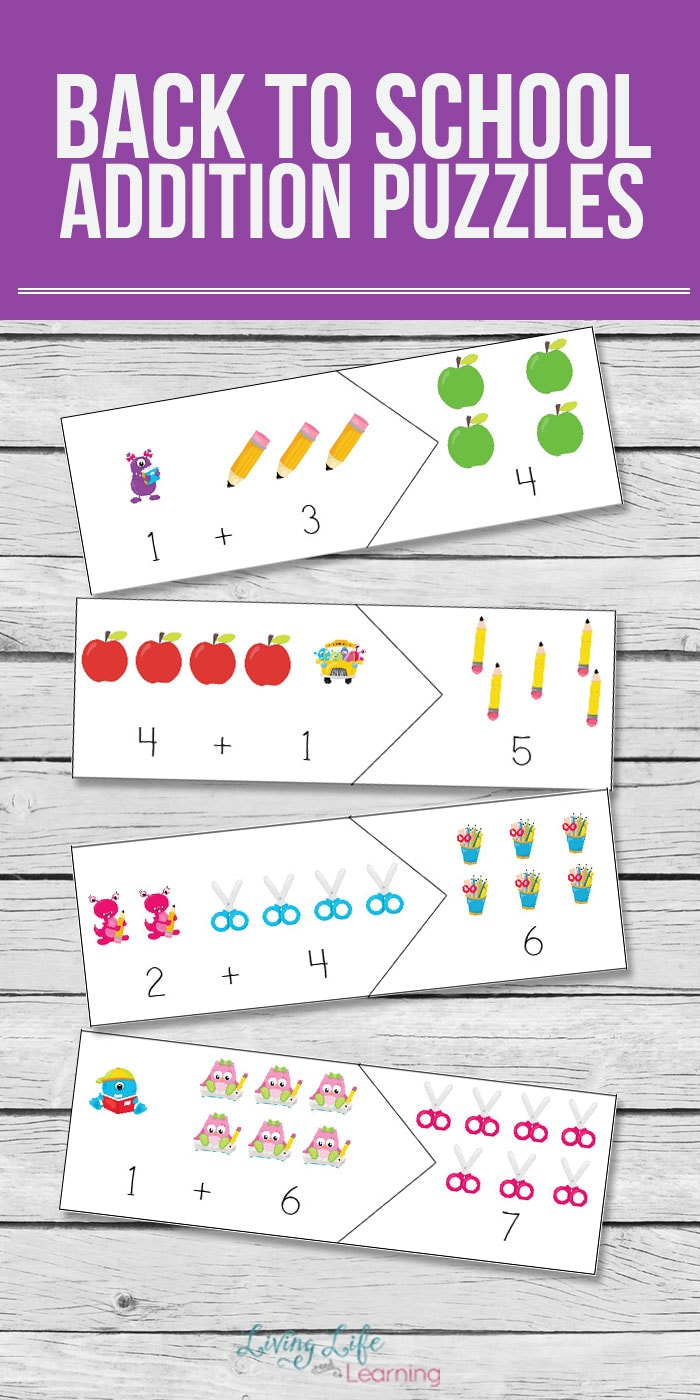 Are you ready for back to school? Try these back to school addition puzzles to have your kids practice their addition skills in a fun and hands-on way. #backtoschool #math #learning #homeschool #addition
