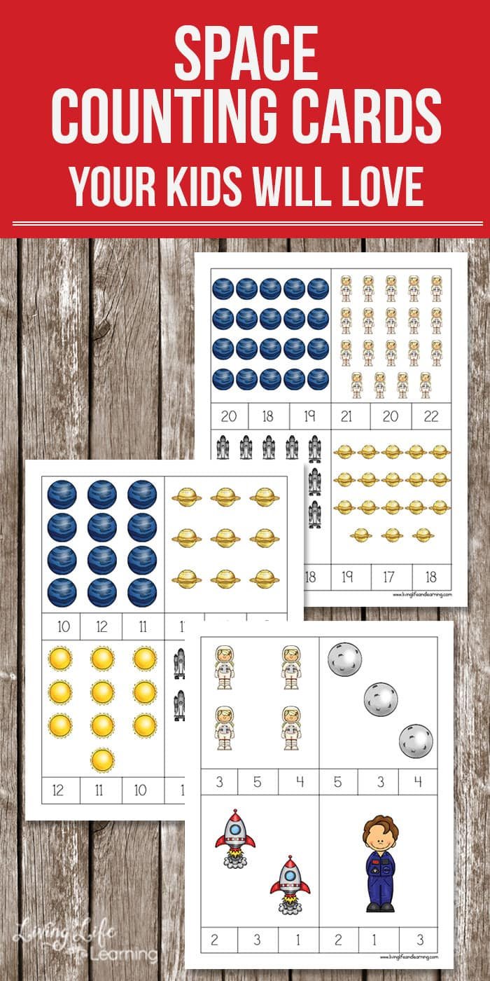 Grab these space counting cards to start counting from 1 to 20. An easy way for any child to get counting and have fun at the same time. Perfect for preschoolers and kindergarten students.