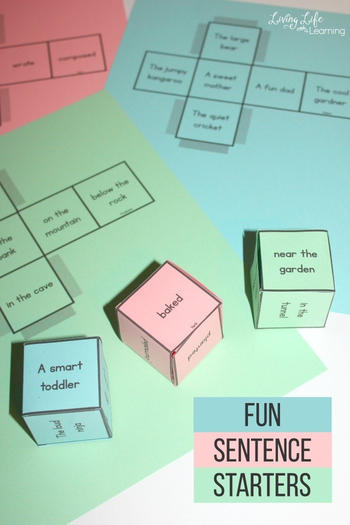 In this post, we have an educational game with fun sentence starters. It has a set of six printable dice to help kids get their creative juices flowing when it comes to writing.