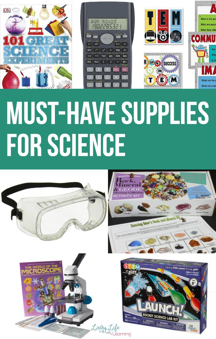 An awesome list of must-have supplies for science so you don't feel like a homeschool mom failure at science and can amaze the kids with the new projects.