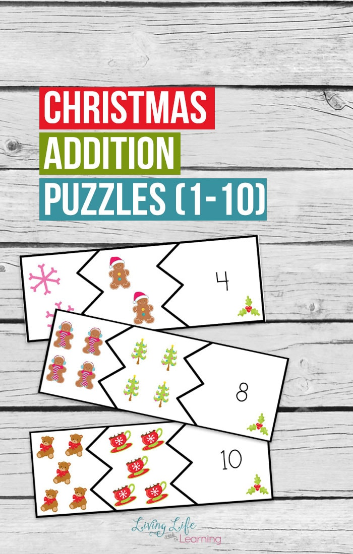 Christmas addition puzzles to have your kids adding to 10 in no time, make math fun with these cool addition puzzles in a fun Christmas theme.