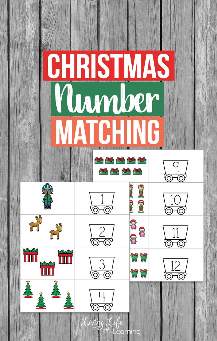 Easy way to count to 12 for preschoolers - Count up to 12 with this adorable Christmas number matching printable - enjoy the holidays with this holiday themed activity for preschoolers.
