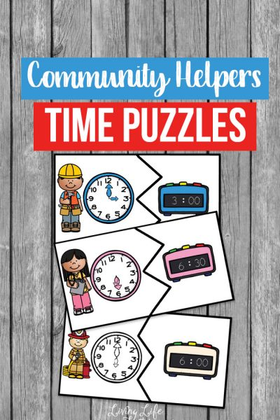 Try these community helper time puzzles and make learning how to tell the time a treat and not feel like school work with these printable time puzzles.