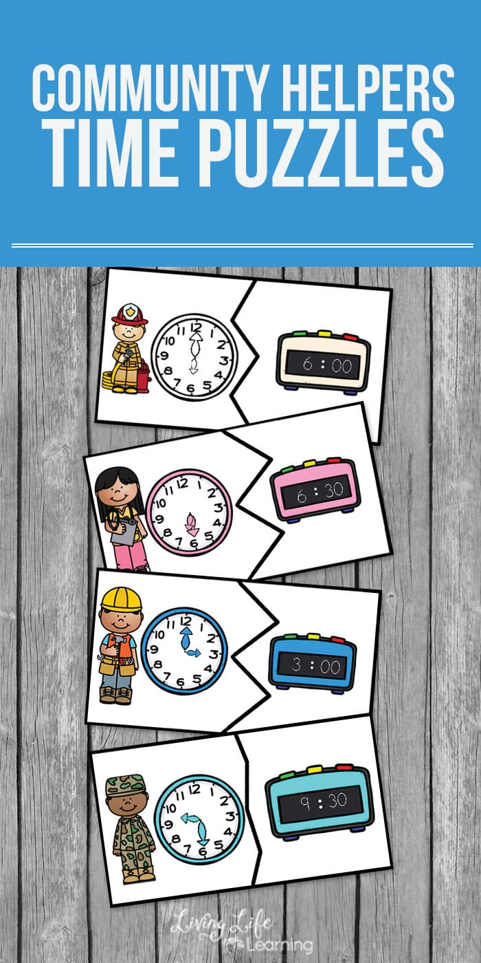 Try these community helper time puzzles and make learning how to tell the time a treat and not feel like school work with these printable time puzzles. #homeschool #kids #math