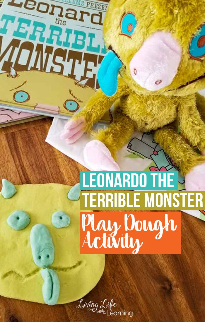 Is your child scared of monsters? Try this Mo Willems-inspired Leonardo, the Terrible Monster play dough activity to get rid of those monster jitters, he's so silly! It's so simple to try and a perfect activity to go along with the series. #ad #Books #reading #playdough #ReadMo