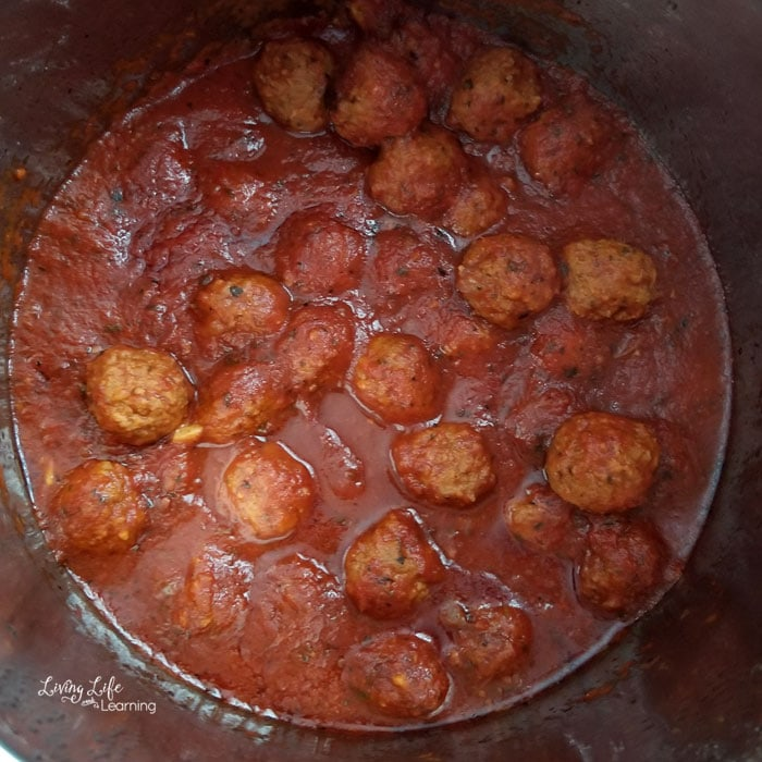 Meatballs and sauce in an Instant Pot