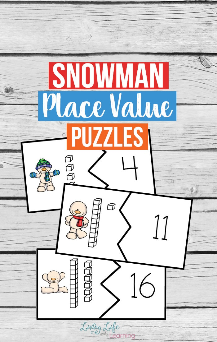 Get your child counting with these adorable snowman place value puzzles, an easy way to count on from 10 in a fun winter printable for kids.
