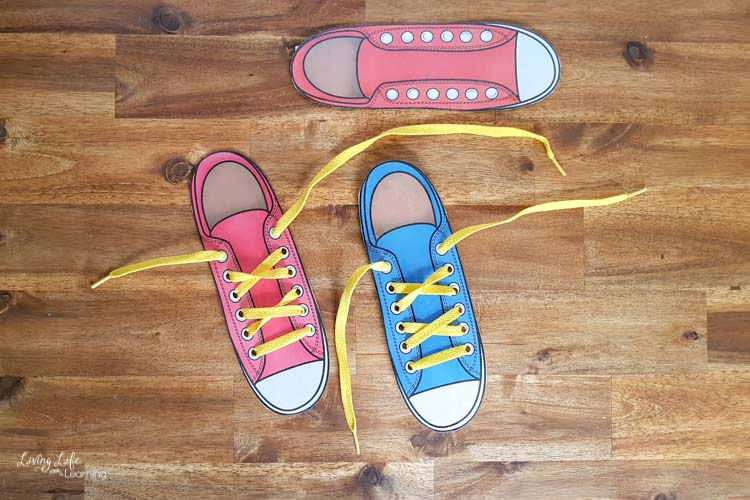 shoe lacing cards with yellow laces