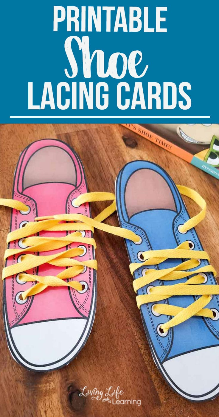 Is your child frustrated about tying their shoelaces? Help your child practice tying their shoes with these adorable printable shoe lacing cards, get the hanging of tying your shoes in no time. #parenting #kids #finemotoractivities