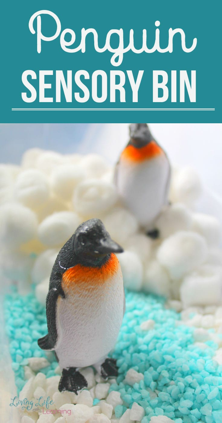 Explore Antarctica with this fun Penguin Sensory Bin. Get these penguins swimming in the water and playing in the snow as penguins love to do. Invite your kids to pretend play with these penguins and provide tons of imaginative play for your kids. #Penguins #Sensorybin #Winter