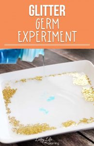 Show your kids how using soap works to get rid of germs in this glitter germ science experiment. You can also use it to show how thorough they need to be while washing their hands. Germs are everywhere, show your kids how important soap is to get rid of them with this hands-on germ activity.