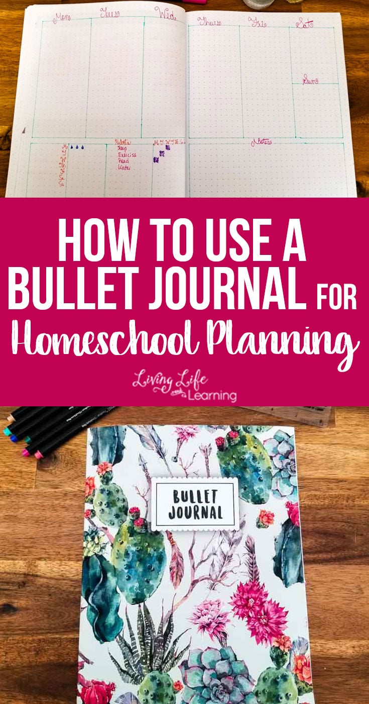 How to Use a Bullet Journal for Homeschool Planning - you don't have to use a fancy expensive planner, create your own homeschool plans with a simple bullet journal. Don't be intimated by bullet journaling. It's such an easy and inexpensive way to do your homeschool planning. #bulletjournal #homeschoolplanning #homeschool #homeschooling