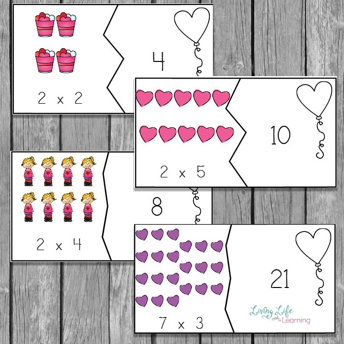 Have fun with math using these Valentine's day multiplication puzzles.