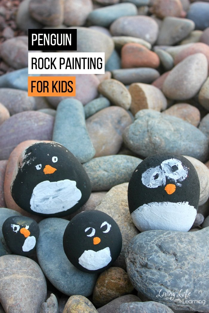We love rock painting with kids! There are so many ideas to pick from! Since it is Winter, we are excited about animals that live in cold weather. In this post, we will share some fun penguin rock painting for kids to make. They will spruce up your garden, front porch or playroom.