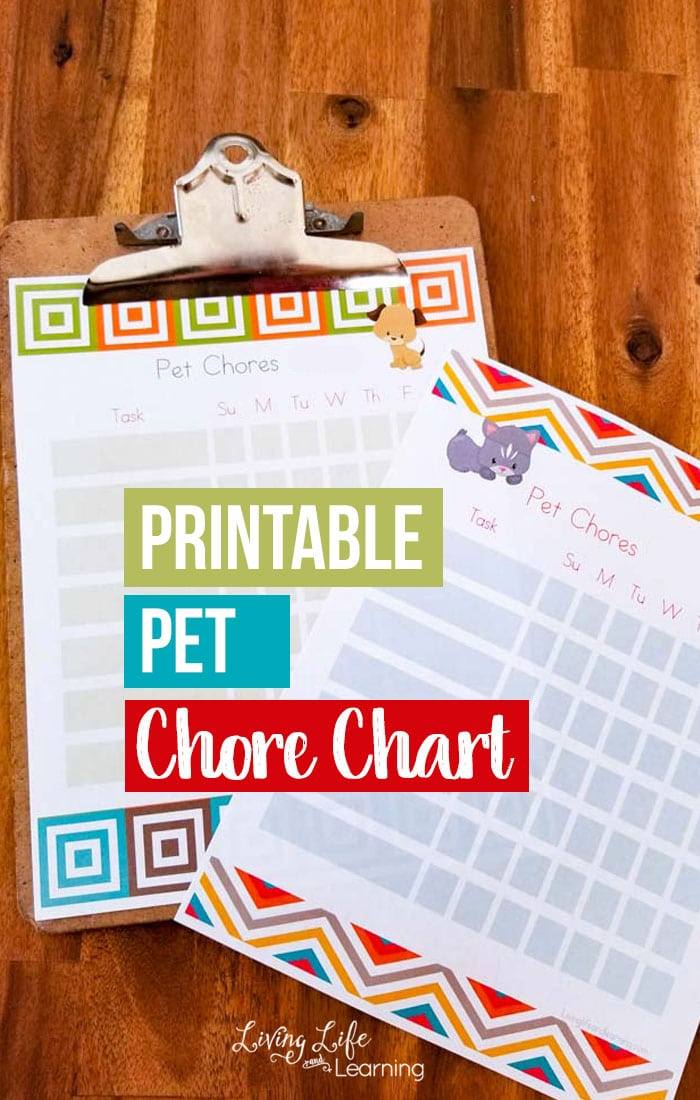 Teach your kids responsibility with their pets and use this printable pet chores chart to have them keep track of what they've completed for each day.