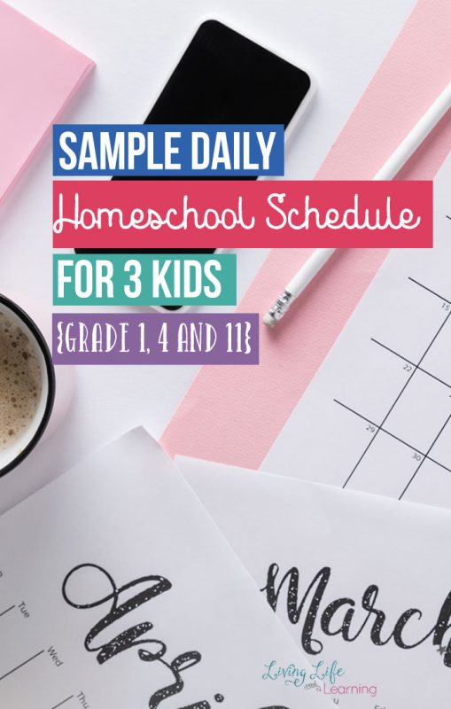 Get a peek into my homeschool and see our sample homeschool daily schedules for 3 kids to see how they work each day. My kids all work at different levels and it can be a mess to juggle it all but with a little organization, you can get your kids working well on their own and use to a homeschool routine.
