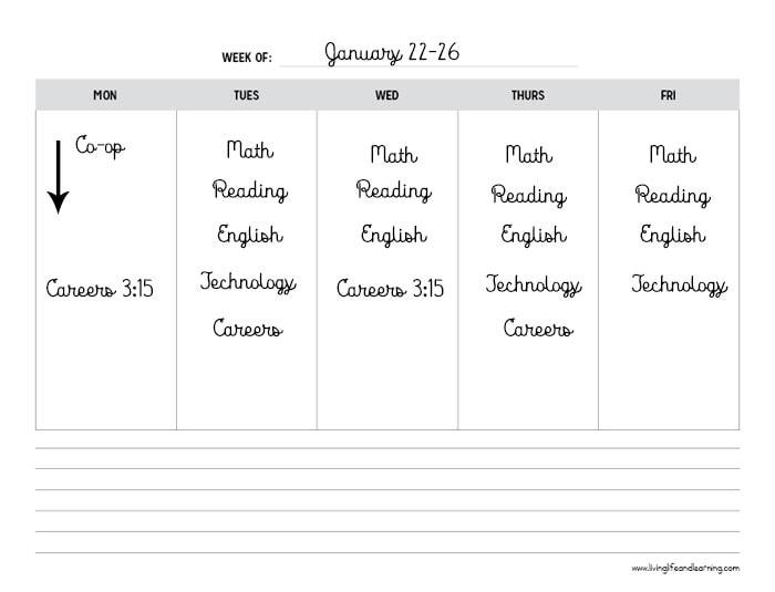 homeschool schedule for grade 11