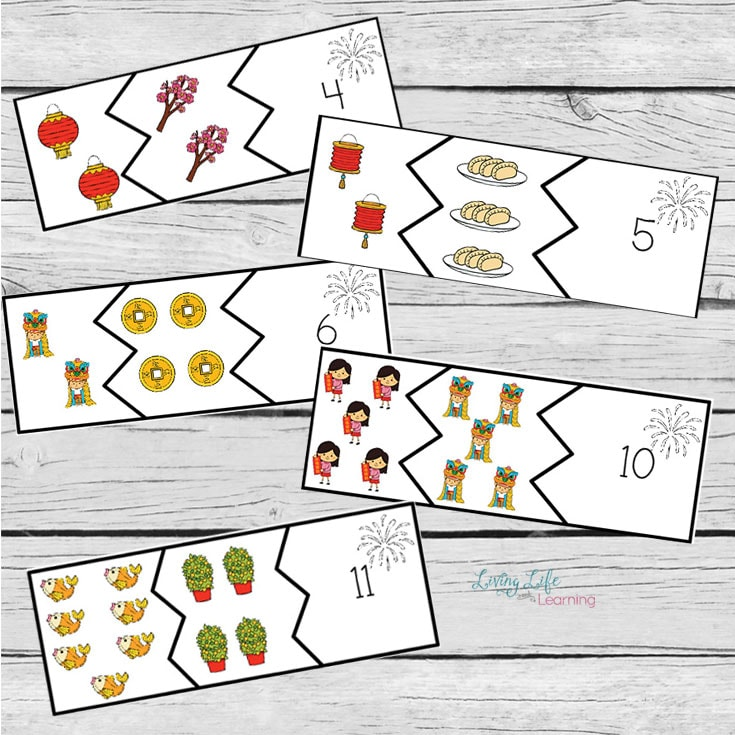 Chinese new year addition puzzles for kids