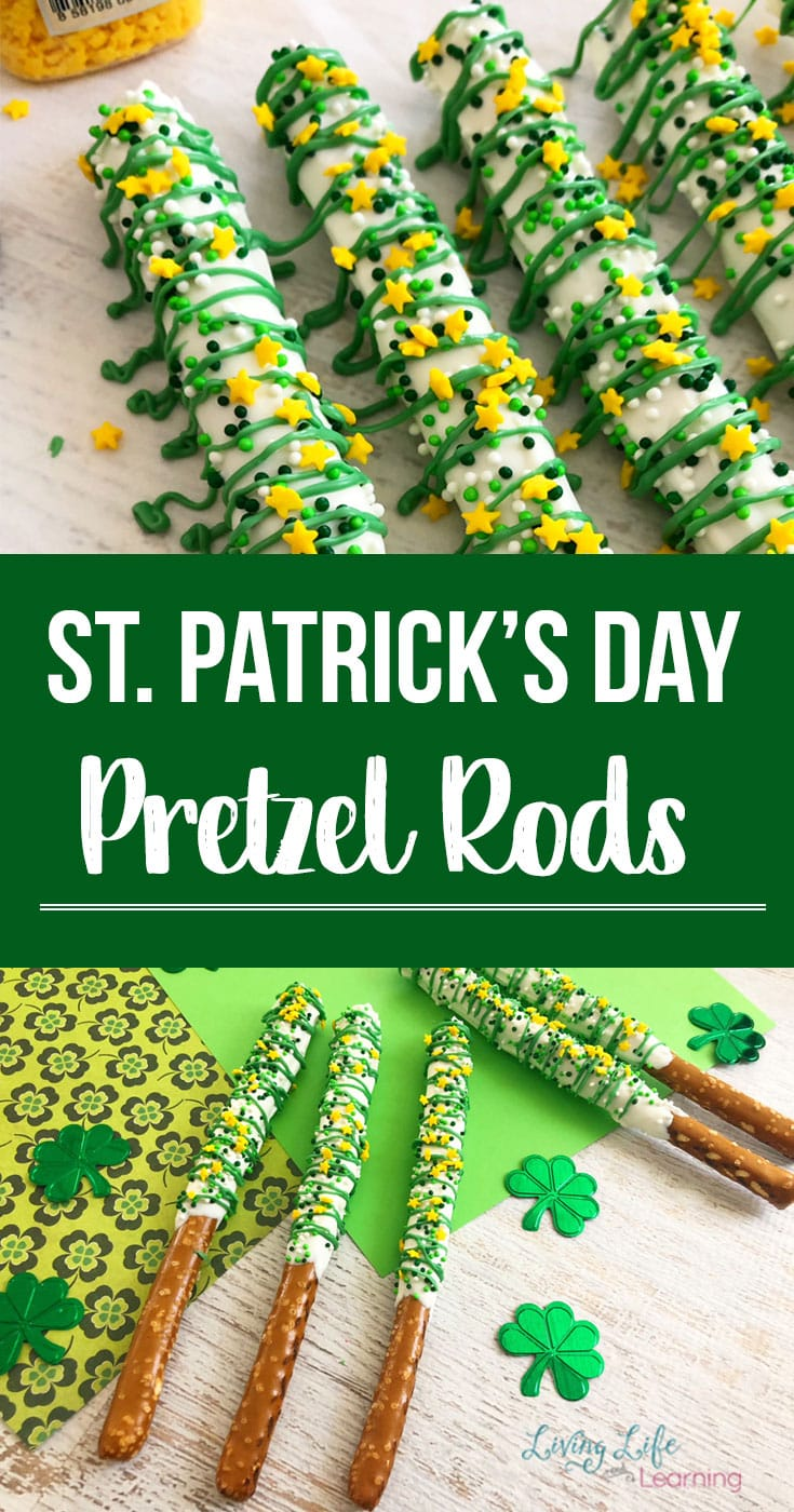 A fun St. Patrick's Day treat that is super easy and fun to make these deliciously dipped pretzel rods! Festive sprinkles and icing make this a lucky treat! #stpatricksday #easytreats #pretzelrods