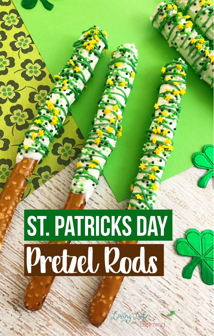 A fun St. Patrick's Day treat. It is super easy and fun to make these delicious dipped pretzel rods! The icing and sprinkles make theme festive for this lucky holiday!