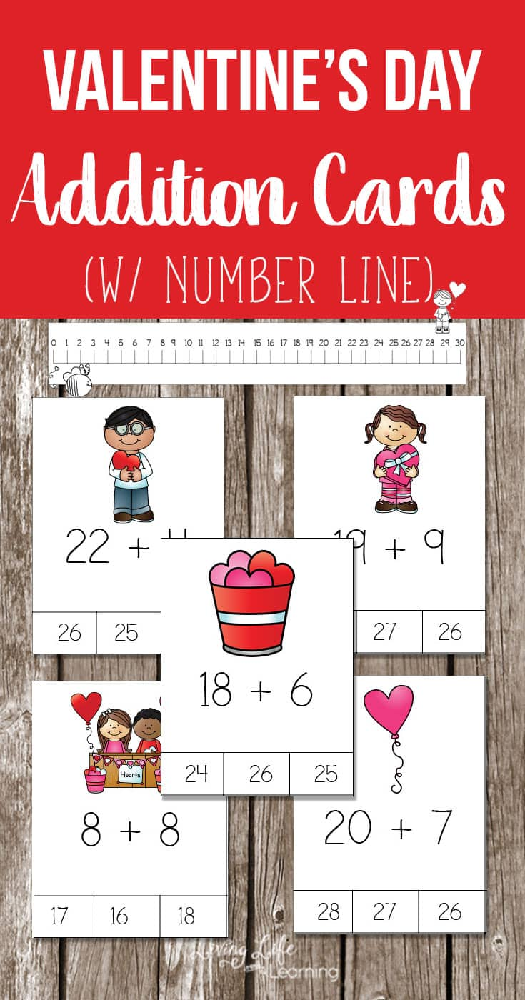 Get your Valentine's Day Addition Cards to get your kids adding from the teens up to 30. Have fun with these addition cards rather than boring worksheets. Make math fun with a fun Valentine's day theme to change things up. #math #valentinesday #homeschooling