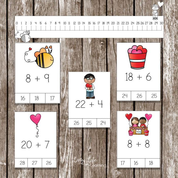 Use this number line with the Valentine's day addition cards to get your kids adding from the teens up to 30