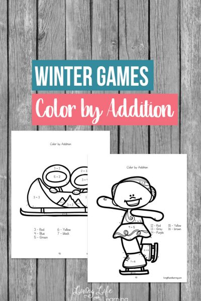 Winter Games Color by Addition Worksheets