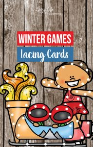 Winter Games Printable Lacing Cards will have your child excited about the winter games and let them focus on their fine motor skills. Make your own lacing cards at home using everything you have on hand already. These printable lacing cards are a wonderful way to get your kids excited about the Winter Olympics.