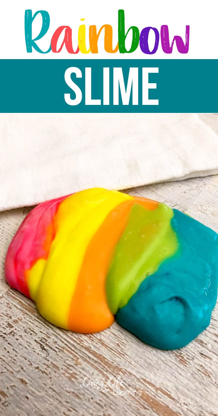 Whether you are making slime for your kids at home or in the classroom, this Rainbow Slime recipe is astonishing! A sensory activity that looks as if it came straight from the sky! #rainbowslime #rainbow #sensory #slimerecipe #simpleslime #colorfulslime
