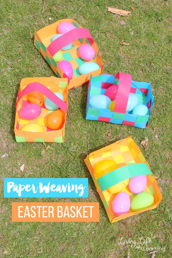 We are looking at some really fun way to make a paper weaving easter basket. Whether your kids just love to weave paper or they want to go a step further and actually make a basket out of their weaved paper, they will find that this fine motor skills activity is a lot of fun! #Easter #kidsactivities #kidscraft #spring