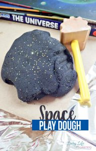 Our new favorite is this Outer Space Inspired Play Dough Recipe. It is easy to make, has a fun color & sparkle, and can lead to fun activities all about outer space!
