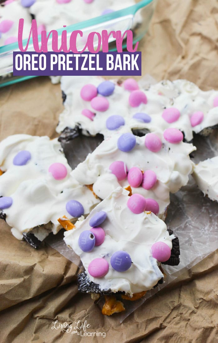 Unicorn Oreo Pretzel Bark: Whether you are in charge of play date snack, making a birthday party snack or just craving something magical, this no-bake recipe is for you!