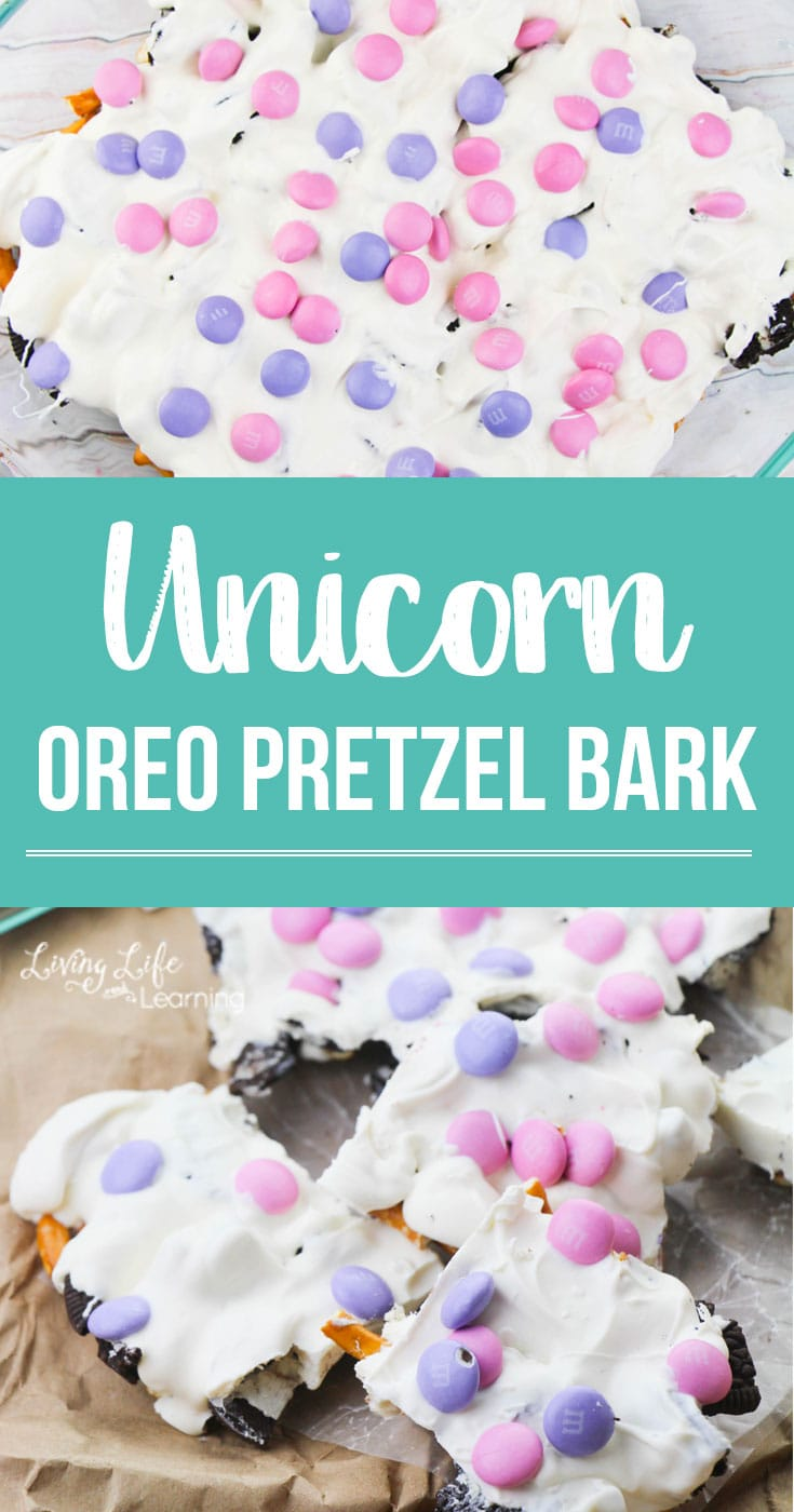 Unicorn Bark: Whether you are in charge of play date snack, making a birthday party snack or just craving something magical, this no-bake recipe is for you! #nobake #unicorn #unicornbark #dessert #m&m #oreo #pretzel