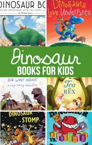 These are our favorite Dinosaur Books For Kids of any age. These bring dinosaurs back to life in fun and happy ways. These are perfect additions to any child's library or a classroom library.