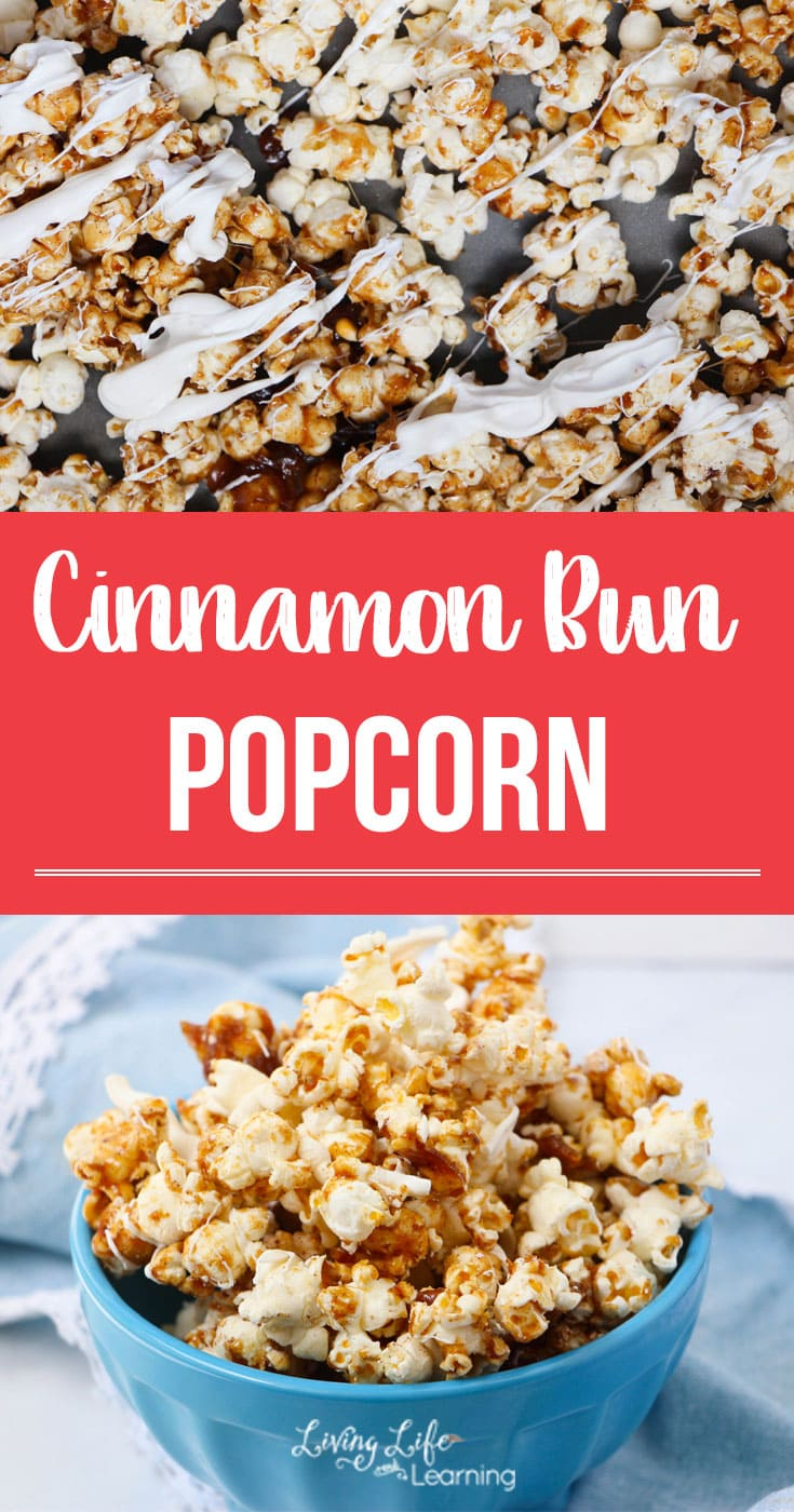 A super simple Cinnamon Bun Popcorn Recipe that is delightfully delicious. This is a perfect treat for a neighbor, teacher or friend gift or to snack on with your favorite movie! #popcorn #flavoredpopcorn #teachergift #neighborgift #snack #dessert