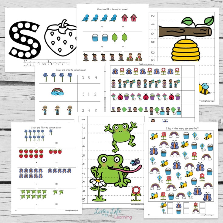 Adorable Spring learning printables to teach preschool and kindergarten students