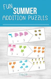 Keep up those math skills with these fun summer addition puzzles