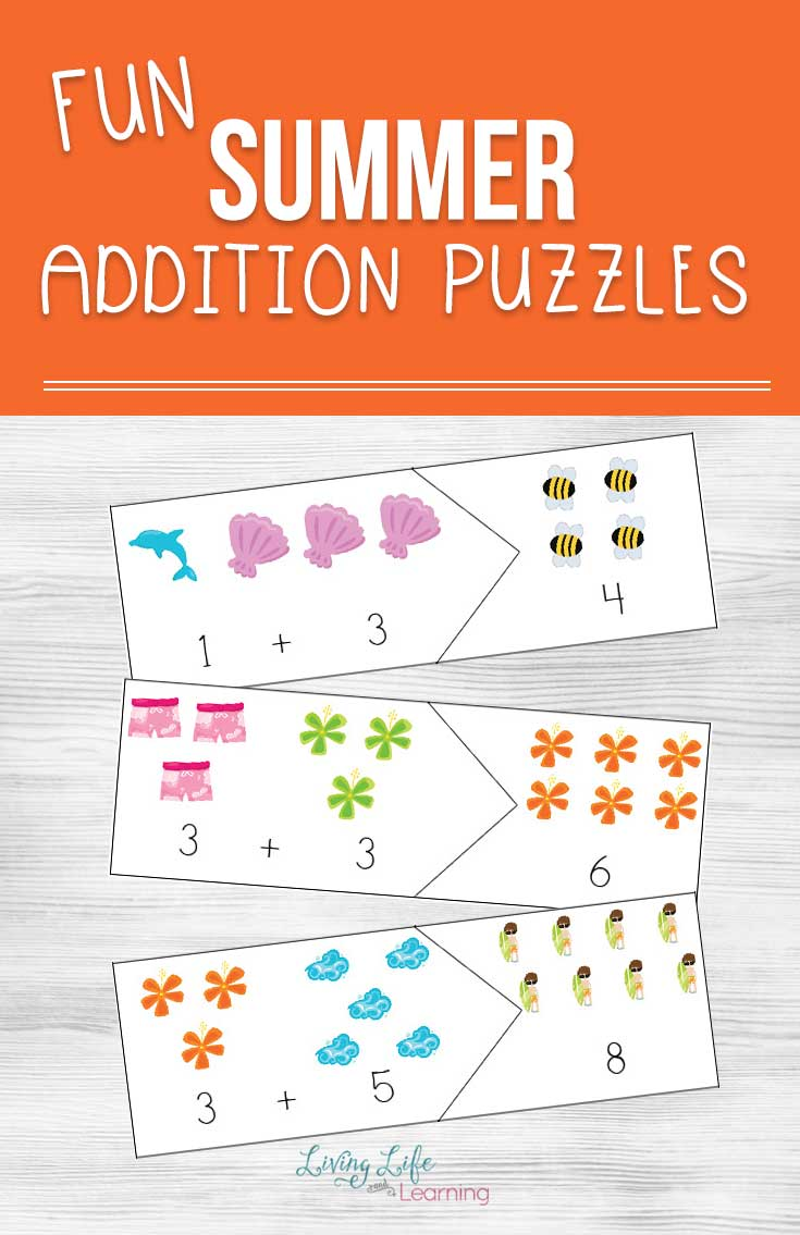 Keep up those math skills up this summer with these fun summer addition puzzles