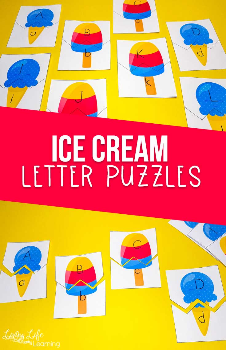 Ice Cream Letter Puzzles Printables