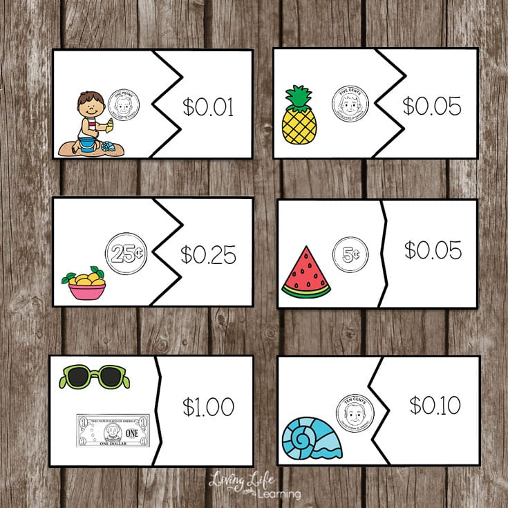 printable summer  money puzzles